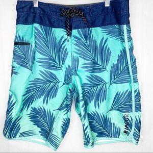 Men's Rip Curl Blue Palm Swim Board Shorts Size 31